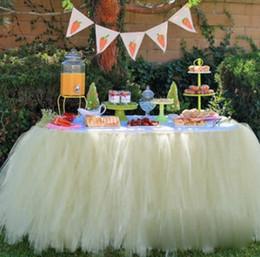 botín de mesa de bodas de oro Rebajas Nueva boda Tulle Tutu Falda de mesa Colores por encargo Cumpleaños Postre Estación Falda Baby Showers Fiesta Decoración de mesa 100 * 80CM wn331C