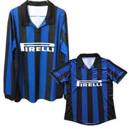 ce6434fe4 1998 Inter Soccer Jersey Retro Long Sleeve Soccer Uniform Inter Retro Short  Sleeve Long Sleeve Blue Football Shirt
