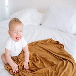 Ropa de cama de impresión activa online-sólido color activo impresión muy suaves 70% manta mantas de fibra de bambú 30% muselina de algodón bebé recién nacido de empañar la ropa de cama