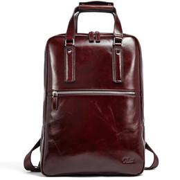 Erkekler için sırt çantası Yağ Mumu Hakiki Deri Bağbozumu Büyük Kapasiteli İş Seyahat Çantası Fit 15.6 Inç Dizüstü Kahverengi nereden