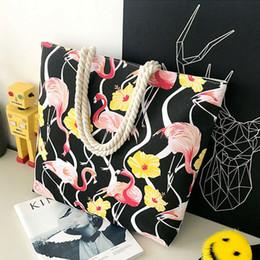 Большой тканевый мешок онлайн-Большой холст сумка Ткань Хлопок Ткань многоразовые хозяйственная сумка женщин пляж сумки Flamingo Printed Продуктовые Сумки