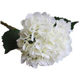 Centro di fiori artificiali per il matrimonio online-Rifornimenti del partito Ortensia artificiale testa di fiore 47 cm seta finta singolo tocco reale ortensie 8 colori per centrotavola matrimonio fiori per la casa