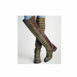 Tamanho europeu 34 sapatas on-line-XingDeng Europeu Bandage Design Longo Laides Partido Botas Da Motocicleta Ocidental Sapatos Outono Inverno Botas Plus Size 34-43