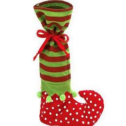 Оптовые украшения эльфа онлайн-Оптово Топ Гранд Санта подарок Носок рождественские украшения атласная детей мешок подарка Elf Foot Полька Рождественские конфеты мешок рождественские носки