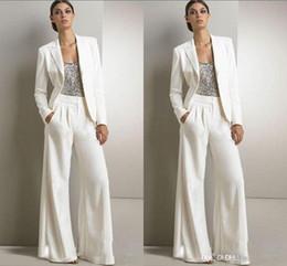 Modestas mujeres vestidos formales online-2018 Nuevas lentejuelas Bling Marfil Pantalones blancos trajes Madre de la novia Vestidos Formales Gasa Esmoquin Vestido de fiesta de las mujeres Nueva moda Modest