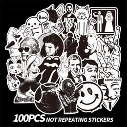 calcomanías comerciales Rebajas 100 Unids / lote blanco y negro conjunto de graffiti retro pegatinas personalizadas de comercio exterior caja de la carretilla de dibujos animados maleta graffiti pegatinas a prueba de agua