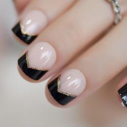 Nail Corta Francesa Clavos Falsos Uv Gel Negro Consejos Del Brillo Del Oro ángulo Decorado Natural Para Lady Con Adhesivo Aquí