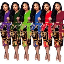 vestido corto colorido Rebajas 2019 diseñador sexy vestido delgado de primavera moda multicolor cuello redondo manga corta vestido colorido para todas las ocasiones 9135