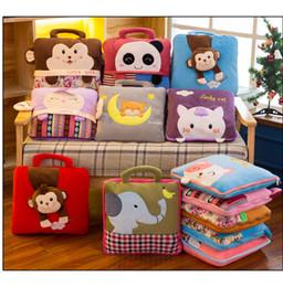 Aire acondicionado gratis online-DHL libre bebé corto de felpa de dibujos animados creativo manta niños verano franela aire acondicionado cubierta de la siesta Mantas almohada almohada toallas de baño