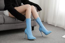 Elástico colorido on-line-2020 estação Europeu grandes botas de tamanho das mulheres estilete tecido elástico cor de doces apontou botas de salto-alto calça as sapatilhas