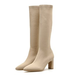 sexy knie hohe stiefel niedrige ferse Rabatt 2019 Luxuxfrauen Socken Kniehohe Stiefel Sexy 8cm-Absatz-Schuhe Stiefel Short Strickn Stretch Low Heels Winter Herbst Warm Botas