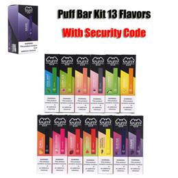 streben vape pen Rabatt Puff Bar Einwegvorrichtung Pod Starter Kit 280mAh Akku 1,3 ml Kartusche 13 Flavors VGöD Stig Vape Leer-Feder mit Sicherheits-Code