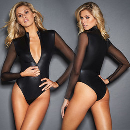 black catsuit club Promo Codes - Black Pvc Mesh Long Sleeve Bodysuit Women Plus Size XXXL Leather Zipper Skinny Catsuit Sexy Body Feminino Club Party Bodysuits