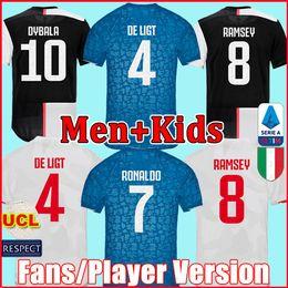 Versão do jogador de futebol on-line-Fãs Versão do Jogador Juventus camisa de futebol camisa de futebol 2019 2020 RONALDO DE LIGT 19 20 uniformes RAMSEY DYBALA JUVE campeões da liga homens + crianças kit