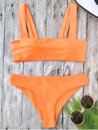 Alça bikini laranja on-line-zada acolchoado alças largas Bandeau Neon Bikini Set - Neon Orange S