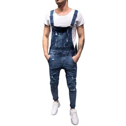0d43c893182 2019 New Men s Overall Casual Jumpsuit Jeans Wash Broken Pocket Trousers  Suspender Pants Jean Homme Calca Jeans Masculina 5