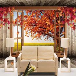 Пользовательские 3D Пейзаж Фото Обои Природный Осень Декорации Желтые Листья Настенной Росписи Обустройство Дома Спальня Комната ТВ Фон от