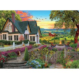 Pintura do jardim da casa on-line-Broca House Garden completa DIY 5D rodada Rhinestone Bordados Diamante Pintura Cross Stitch Kits Mosaice Ornamental