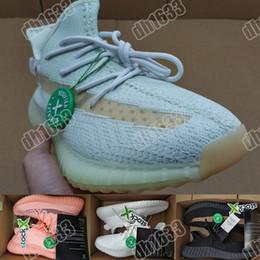 2019 размеры замороженной обуви 2019 моды кроссовки для мужчин Женская GID Glow Статическая Замороженный желтый Дизайнерские кроссовки бегом спорта с коробкой Kanye West Размер 36-48 дешево размеры замороженной обуви