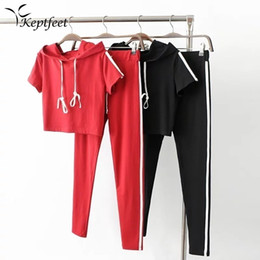 16856f8577f45c 2017 Women Two Piece Set Side Striped Crop Top And Leggings Red Fitness  Yoga Set Hooded Tops+Pants Cropped Tracksuit #918359