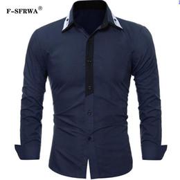 Deutschland F-SFRWA Marke 2019 Art und Weise männliches Hemd Lang-Hülsen Oberseiten einfaches und sauberes beiläufiges Hemd Mens-Smokinghemde nehmen Männer 3XL ab cheap simple dress tops Versorgung