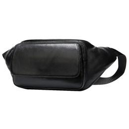 paquetes de teléfono celular en el pecho Rebajas Bolso de cintura de cuero genuino para hombre Bolsa de teléfono celular para el cinturón Sac Banana Homme Travel Crossbody Bags Male Fanny Chest Pack Black