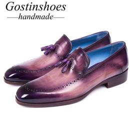 Mocassins mauves en Ligne-GOSTINSHOES FAIT À LA MAIN Goodyear Welted Men Loafers fait à la main en cuir véritable violet bout pointu Slip-On gland hommes chaussures Casual SCZ050
