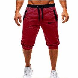 trousers red black men Promo Codes - Summer Men Leisure Men Knee Length Shorts Color Patchwork Joggers Short Sweatpants Trousers Bermuda Shorts Roupa Masculina