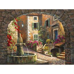 dipinti di villaggio Sconti Dipinti a mano Dipinti ad olio di paesaggi Sung Kim Fountain de Village per decorazioni murali