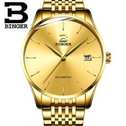 механические часы Скидка Switzerland BINGER  Mechanical Watch Men  Sapphire Waterproof Calendar Gold Watches Male Relogio Masculino 2019