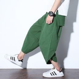 Pantaloni di jersey baggy online-2019 Uomini Pantaloni larghi hip-hop / Pantaloni in lino di cotone estivi in jersey a vita alta in vitello casual larghi al polpaccio Taglia S-5XL