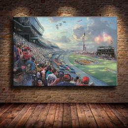 2019 óleo de thomas kinkade (Sem moldura / Emoldurado) Thomas Kinkade Daytona 500, 1 Peças de Arte Da Parede Pintura A Óleo Da Lona Decoração Da Sua Casa 24X36. óleo de thomas kinkade barato
