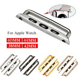 Relojes de pulsera online-1 par de accesorios de la correa de reloj para el adaptador del reloj de Apple Adaptadores de conexión de la banda de acero inoxidable para la serie iWatch