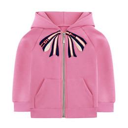 2019 casacos longos de inverno da linha da princesa Crianças Designer Casacos Bonito Bow Tie Padrão Meninas Casacos Moda Inglaterra Estilos Clássico Casaco Fino com Velo Casuais Rosa Blusão