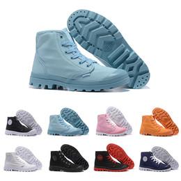 botines vintage para hombre Rebajas Zapatos de lujo de la vendimia Palladium Desigenr Royal Blue Pink Red Triple Negro para hombre de la lona del tobillo Botas mujer zapatillas de deporte al aire libre zapato de senderismo