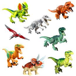 8 Pçs / set Dinossauro Jurassic World Park Tijolos Blocos Tijolos Compatíveis Technic Playmobil Brinquedos Para Crianças de