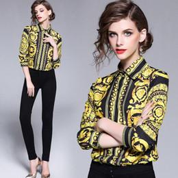 Camisas vintage on-line-Designer de luxo Tops de Alta Qualidade Mulheres Moda Retro Blusa Do Vintage Senhoras Escritório Camisas Das Mulheres Tops E Blusas