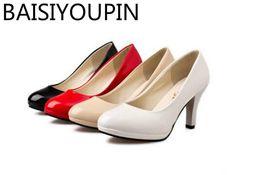 Nuovi Scarpe da donna Tacco di pelle verniciata Tacchi alti Scarpe da donna  Nero Bianco Lavoro Rosso Fondo nuziale Grandi dimensioni 41 42 scarpe da  lavoro ... bc9f2541d4e