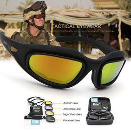 Juegos de guerra táctica online-Gafas polarizadas del ejército Gafas de sol tácticas Kit de 4 lentes Gafas tácticas Hombres Desert Storm Juego de guerra Sporting Gafas Protección para los ojos