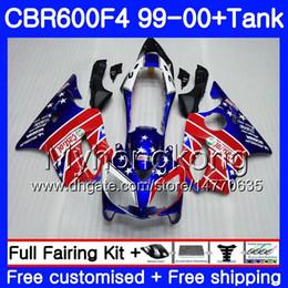 Cornice 46 online-Bodys + Tank per HONDA CBR 600 F4 FS CBR 600F4 cornice blu lucida CBR600F4 99 00 287HM.46 CBR600FS CBR600 F 4 CBR600 F4 1999 2000 Kit carena