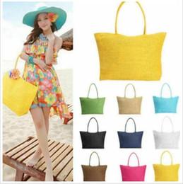 летние соломенные кошельки Скидка Пляжные сумки соломенная сумка для покупок Летние повседневные сумки Сумка через плечо Candy Color Tote Lady Модный кошелек Организатор путешествий B4692