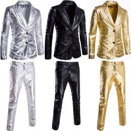 Outono New Mens 2 PCs CoatsPants Lantejoulas de Ouro Blazers Boate Um Botão Slim Fit Ternos Festa Formal Tops Outwear cheap mens sequin coat de Fornecedores de casaco de lã mista