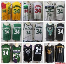 Camisetas de baloncesto vintage online-2019 Ganado Milwaukee Bucks Giannis Antetokounmpo Edición jerseys del baloncesto de la ciudad # 34 Antetokounmpo Vintage camisas cosidas para hombre S-XXL