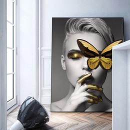 Стена для чаров онлайн-Современный дом Deco Черный Белый Sexy Очаровательная женщина губ Красота холст картины Мода Wall Art Picture Бабочка для гостиной