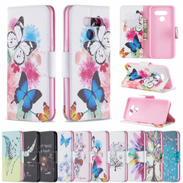 Piuma da portafoglio online-Custodia a portafoglio in pelle di lusso per LG LG K40 K50 Q60 Stylo 5 4 G7 Q8 Non toccare il mio telefono Owl Flower Butterfly Feather Bear ID Slot Flip Cover