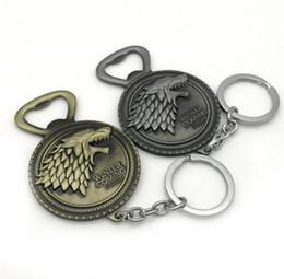 Jogo tronos anéis correntes on-line-Abridor de garrafa de Game of Thrones Inverno vindo Chaveiro Casa Stark Família Lobo Chaveiro abridor de cerveja LJJK1601