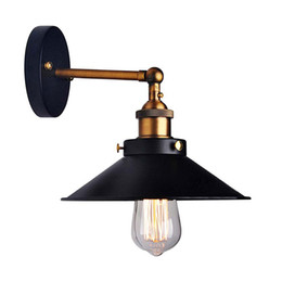 bedside wall light iron Coupons - American Loft Industrial Wall Lamps Vintage Bedside Wall Light Metal 22cm Lampshade E27 Edison Bulbs 110V 220V