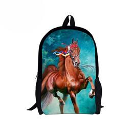 2019 libros frescas Personalizado Cool Boys School Bags Printing Horse Schoolbag para niñas 16 pulgadas primaria secundaria niños niños mochilas Mochia rebajas libros frescas
