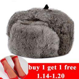 RY996 Gorro de piel de conejo Hombre Invierno Genuino 100% Fur Bomber Hat  con orejeras calientes Hombre Gris plano   Negro Sombrero ruso equipado  Casquette ... 98339b16091