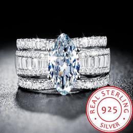 Piezas de diamante online-Conjuntos de anillos apilables de 3 piezas para mujeres 925 Plata 2019 anillo de diamantes separables de oro de 18 quilates chapado en nueva moda Anillos de bodas de alta calidad